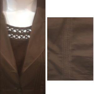 Apt 9 brown cotton jacket with detail sz 14